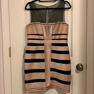 BCBG MaxAzria Black and Gold Bandage Dress